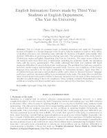 English Intonation Errors made by Third Year Students at English Department, Chu Van An University