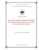 Một số giải pháp góp phần phát triển hoạt động kinh doanh của bưu điện Long Thành đến năm 2020