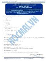 Bài tập Theo Hàm Số Và Các Bài Toán Liên Quan 2015_ Có đáp án