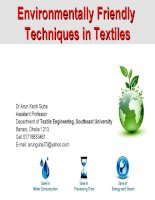Environmentally friendly techniques in Textiles