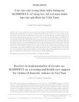 Các rào cản trong thực hiện thông tư 162009BYT về sàng lọc, hỗ trợ nạn nhân bạo lực gia đình tại việt nam
