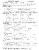 Kiểm tra 1 tiết lần 2 HKI tiếng Anh lớp 6