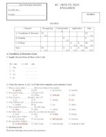 Kiểm tra 1 tiết lần 2 HKI tiếng Anh lớp 8