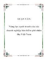 Năng Lực Cạnh Tranh Của Các Doanh Nghiệp Bảo Hiểm Phi Nhân Thọ Việt Nam