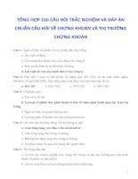 TỔNG HỢP 216 CÂU HỎI TRẮC NGHIỆM VÀ ĐÁP ÁN CHUẨN CÂU HỎI VỀ CHỨNG KHOÁN VÀ THỊ TRƯỜNG CHỨNG KHOÁN