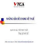 Bài giảng NHỮNG VẤN ĐỀ CHUNG VỀ THUẾ - ThS Trần Mạnh Tuấn