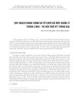 QUY HOẠCH HÀNH CHÍNH VÀ TỔ CHỨC BỘ MÁY QUẢN LÝ THĂNG LONG - HÀ NỘI THỜI KỲ TRUNG ĐẠI