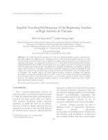 English Teaching Performance of the Beginning Teacher at High Schools in Vietnam
