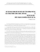 DỮ LIỆU ĐỊA DANH ĐỐI VỚI VIỆC ĐẶT TÊN ĐƯỜNG PHỐ VÀ CÁC CÔNG TRÌNH CÔNG CỘNG, VĂN HÓA Ở THỦ ĐÔ HÀ NỘI - HIỆN TRẠNG VÀ NHỮNG VẤN ĐỀ ĐẶT RA
