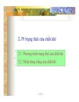 Bài giảng Kỹ thuật nhiệt - Chương 1.2 Phương trình trạng thái của chất khí - TS. Hà Anh Tùng (ĐH Bách khoa TP.HCM)