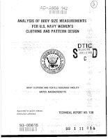 Analysis of Body Size Measurements for U.S. Navy Womens Clothing and Pattern Design 1993