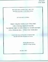 Thực trạng năng lực ứng phó với cúm đại dịch ở người tại bệnh viện tuyến tỉnh và tuyến huyện cảu tỉnh Bà Rịa- Vũng Tàu năm 2013