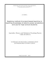 Applying method of project based teaching in teaching knowledge of electric power production and use for high school students
