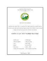 Đánh giá hiệu quả và đề xuất một số giải pháp nhằm nâng cao hiệu quả hoạt động khuyến nông tại xã phù ngọc   huyện hà quảng   tỉnh cao bằng