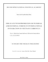 The state with promotion of internal and external forces in international integration in vietnam currently