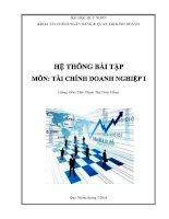 hệ thống bài tập môn tài chính doanh nghiệp 1