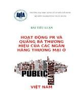 hoạt động pr và quảng bá thương hiệu của các ngân hàng thương mại ở việt nam