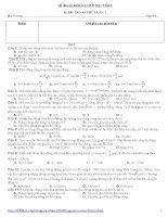 Đề và đáp án kiểm tra vật lý lớp 12 lần 1