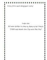 Luận văn kế toán vật liệu và công cụ, dụng cụ tại công ty TNHH một thành viên cấp nước phú thọ