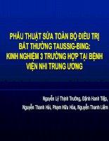 PHẪU THUẬT sửa TOÀN bộ điều TRỊ bất THƯỜNG TAUSSIG BING  KINH NGHIỆM 3 TRƯỜNG hợp tại BỆNH VIỆN NHI TRUNG ƯƠNG