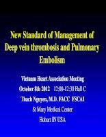 Chuẩn mực mới trong điều trị thuyên tắc tĩnh mạch sâu và thuyên tắc động mạch phổi