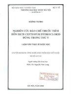 Nghiên cứu bảo chế thuốc tiêm hỗn dịch ceftiofur hydroclorid dùng trong thú y