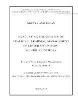 Evaluating the quality of teaching – learning management of lower secondary school principals