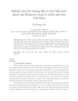 Nghiên cứu môi trường đầu tư trực tiếp nước ngoài của malaysia và gợi ý chính sách cho việt nam