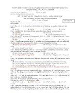 TUYỂN tập đề THI và đáp án môn SINH học kỳ THI THPT QUỐC GIA CHỌN lọc HAY và đặc sắc NHẤT