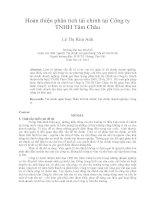 Hoàn thiện phân tích tài chính tại công ty TNHH tâm châu