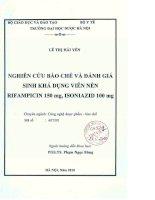 Nghiên cứu bào chế và đánh giá sinh khả dụng viên nén rifamicin 150 mg , isoniazid 100 mg