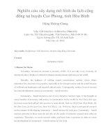 Nghiên cứu xây dựng mô hình du lịch cộng đồng tại huyện cao phong, tỉnh hòa bình