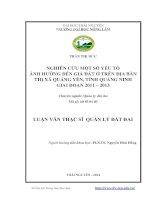 Nghiên cứu một số yếu tố ảnh hưởng đến giá đất ở trên địa bàn thị xã quảng yên, tỉnh quảng ninh giai đoạn 2011   2013