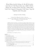 Hoạt động truyền thông về vấn đề tôn giáo trên báo in việt nam hiện nay (2005 2010)  khảo sát và tham khảo trên báo nhân dân, tuổi trẻ, người công giáo việt nam, tạp chí nghiên cứu tôn giáo