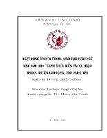 Hoạt động truyền thông giáo dục sức khỏe sinh sản cho thanh thiếu niên tại xã ngọc thanh, huyện kim động, tỉnh hưng yên