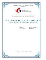 Thực trạng quản trị rủi ro thanh khoản của các NHTM việt nam hiện nay