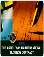 The articles in international business contract