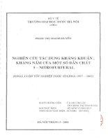 Nghiên cứu tác dụng kháng khuẩn, kháng nấm của một số dẫn chất 5   nitrofurfural