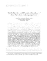 The Subjective and Objective Interface of Bias Detection on Language Tests.
