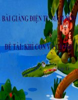 Bài giảng điện tử mầm non lớp Lá đề tài Khỉ con và cá sấu