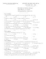 đề kiểm tra 1 tiết hóa 10 chương 1