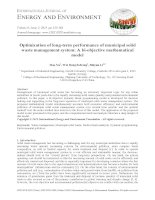 Optimization of long term performance of municipal solid waste management system   a bi objective mathematical model