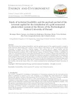 Study of technical feasibility and the payback period of the invested capital for the installation of a grid connected photovoltaic system at the library of the technological federal university of paraná