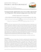 Exergoeconomic optimization of an irreversible regenerated air refrigerator with constant temperature heat reservoirs