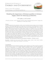 Modeling the importance of biomass qualities in biomass supply chains for bioenergy production
