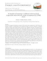 Evaluation of manning's coefficient of ferrocement trapezoidal and semicircle canals strengthened by CFRP sheets