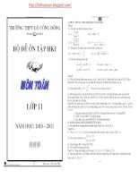 Bộ đề ôn tập học kì 1 môn toán 11