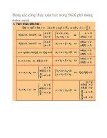 Bảng các công thức toán học trong SGK phổ thông hay