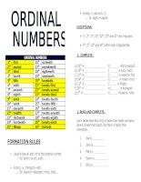 Tài liệu học Tiếng AnhNgữ pháp Ordinal numbers  Số thứ tự