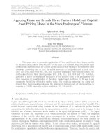 Applying fama and french three factors model and capital asset pricing model in the stock exchange of vietnam